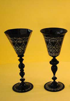 Murano goblets, hand decorated