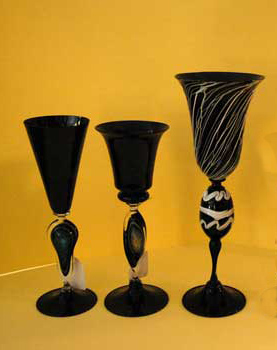 Murano goblets, black color