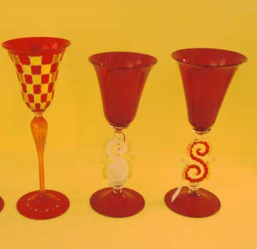 Murano goblets, red color