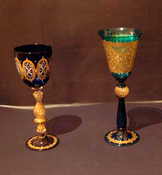 Murano goblets, blu hand decorated