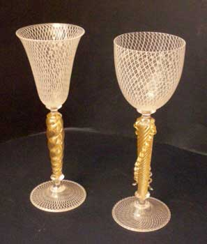 Couple of Murano reticello goblets, Murano