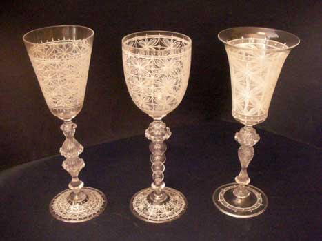 Murano goblets, hand decorated, white