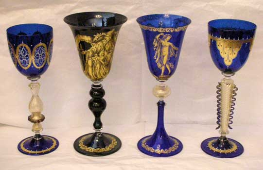 Murano goblets, hand decorated with gold