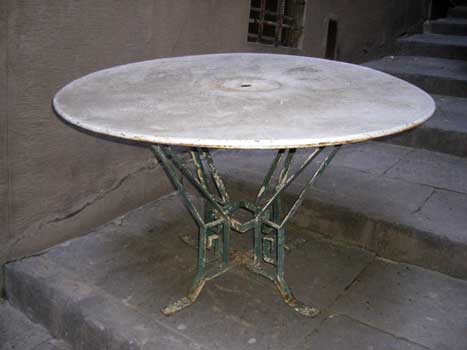 Round table, with green legs