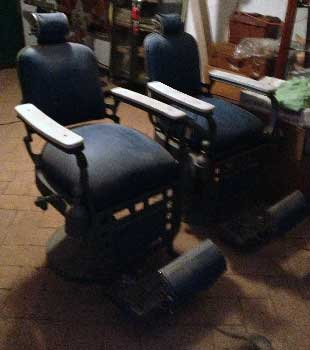pair of barber chairs
