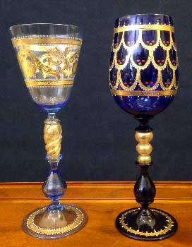 Murano glasses hand painted in gold