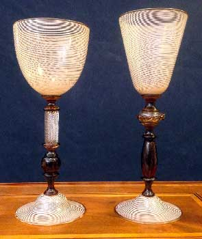 Murano glass filigree brown