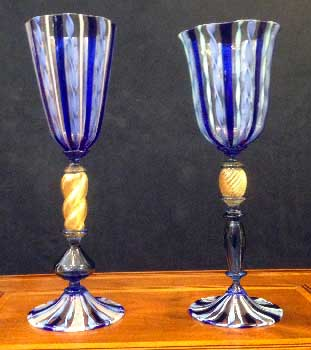 Murano blue glasses zanfirici
