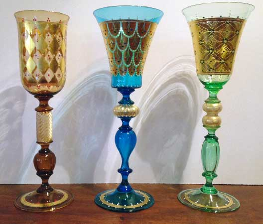 glasses hand painted in gold Murano