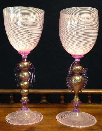 Murano filigree pink glasses