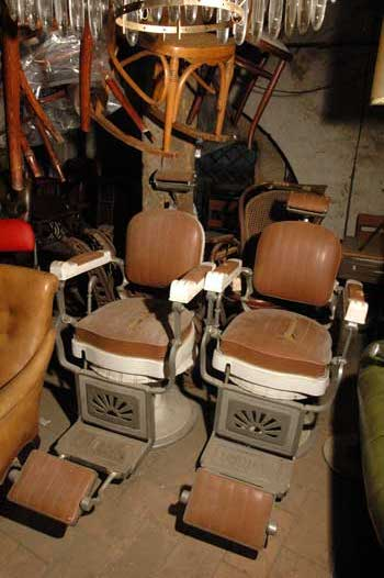 A couple of barber chairs, in porcelain and brown leather, AURORA