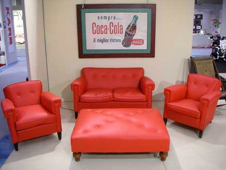 Red leather sofa, 2 armchairs, big pouff