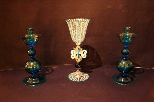 Blu goblets of Murano and blu candlesticks of Murano