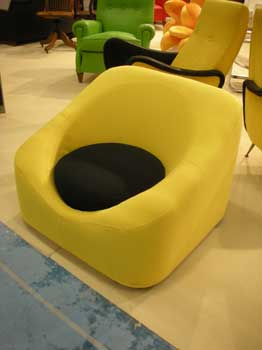 Armachair, in yellow and black cloth